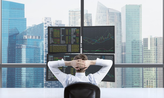 A man with his hands behind his head, looking at a four-monitor setup with graphs and quotes