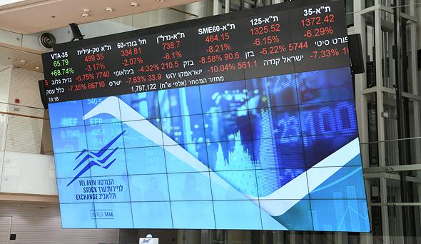 Red screens on the Tel Aviv Stock Exchange in March. Photo: Yair Sagi